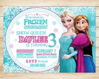ON SALE Frozen Invitation Elsa and Anna Blue Snowy Glitter - Unique Frozen Invite