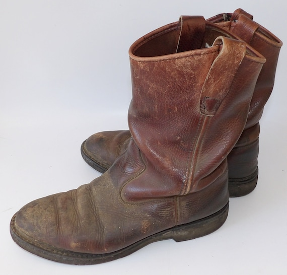 Vintage Red Wing Pull On Boots Pecos Motorcycle Leather Cowboy