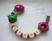 Personalized Wooden Toy - Baby Pacifier Clip Girl - Baby Girl Gift - Pink And Green Frog - Name Pacifier Holder