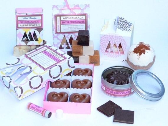 Handmade Swiss Chocolate Gift Spa Set Soap Body Butter Bath Bomb Lip Balm Sugar Cubes Peeling Bath Truffles