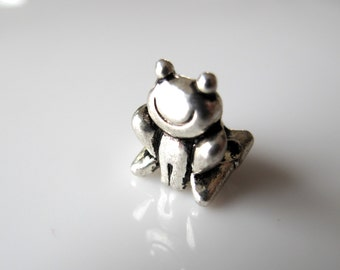 1  Silver Toned Frog Charm Big Hole (5mm) European Charm - fits european style bracelet