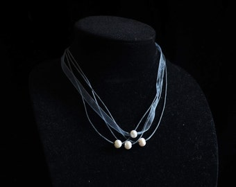 BLACK RIBBON necklace with Freshwater Pearls ~ Freshwater pearls ~ Made in the USA ~ Great gift !!!