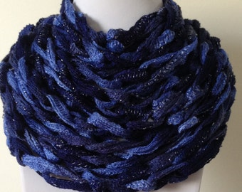 Navy Blue and Periwinkle Blue Chain Scarf with metallic threads.
