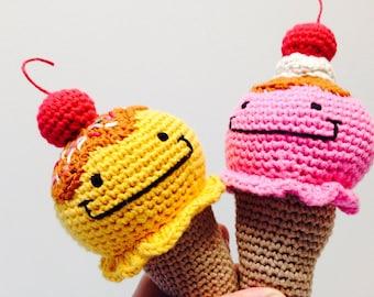 Smiley Ice Cream Crochet Rattle