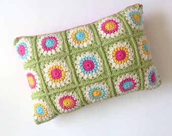 Sunburst Granny Crochet Cushion