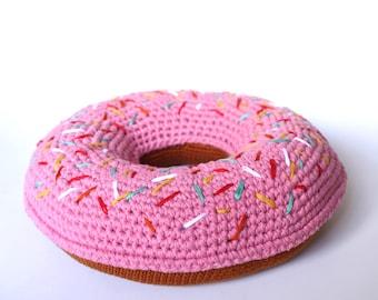 I scream for sprinkle donut crochet cushion