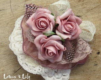 Fascinator, Hair Accessory, Ivory Cream with Dusky Pink Rose Flowers & Feathers.