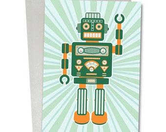 Greetings Card / Robot Card / Blank Card / Birthday card / Childrens card / Robot Artemus