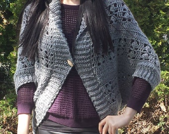 Airy Blocks Ribbed Crochet Shrug Pattern