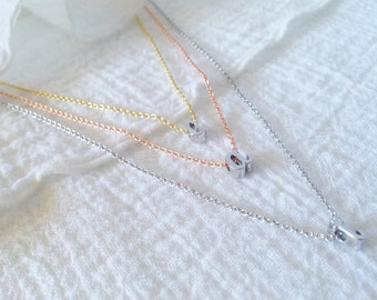 Dainty Silver Initial Necklace, Personalized Gift, Custom Necklace, Bridesmaid Gift