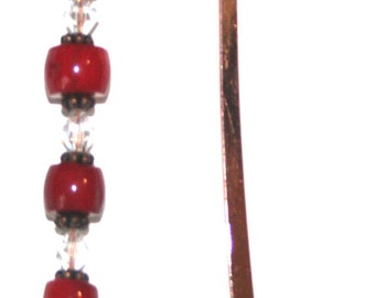 Copper Cross Bookmark with Red Coral & Swarovski Crystals