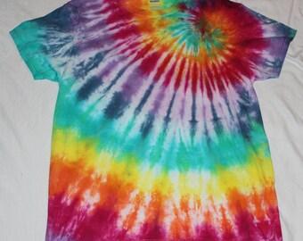 Tie Dye Rainbow Spiral Short Sleeve T Shirt Size Large
