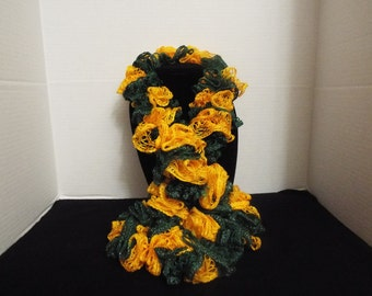 Team Spirit Crochet Ruffled Scarf, Handmade Ruffle Team Spirit Green and Yellow / Gold Lacy College Football