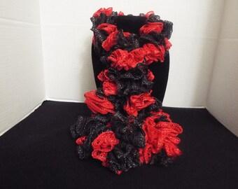 Team Spirit Crochet Ruffled Scarf, Handmade Ruffle Red / Scarlet and Black Lacy College Football