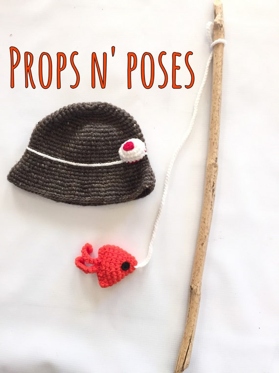 Baby knitted fishing hat fish wood fishing pole by for Baby fishing pole