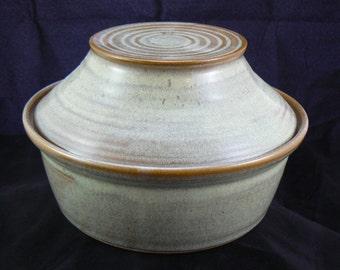 Hand Thrown Pottery Lidded Casserole Dish in Sparrow's Nest Glaze