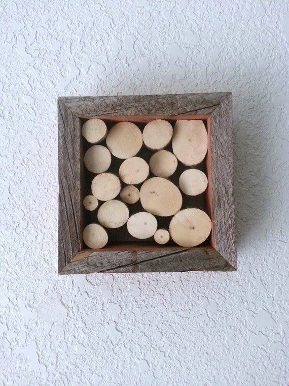 Wooden Box Wall Decor : Raw wood wall decor shadow box timber rustic by
