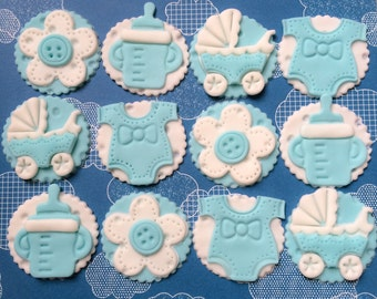Edible fondant cupcake toppers - Baby shower boy/girl