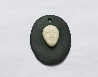 Porcelain pendant, black and white
