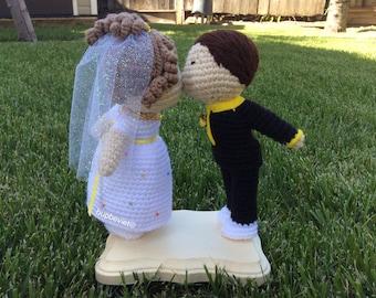 Kissing The Lovers I Do Anniversary Gift Wedding Gift Wedding Cake Topper Thú nhồi bông len móc