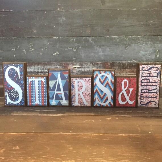 4th Of July Theme Home Decor Wood Blocks Stars & Stripes