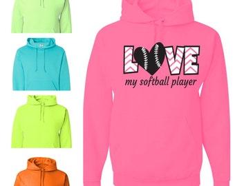 Love My Softball Player Hoodie - Attitude Apparel