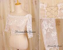Flower edge lace bridal bolero,Handmade embroidery wedding jacket,Short sleeve lace bolero,Lace wedding jacket,Lace bolero,Bridesmaid bolero