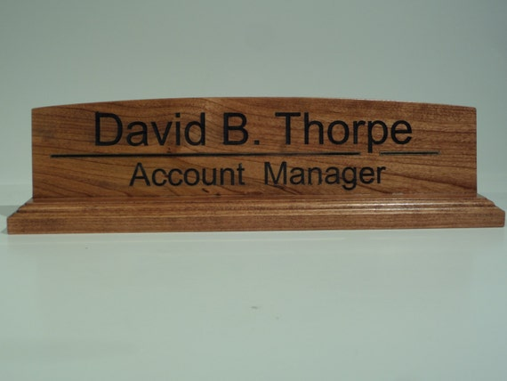 Wood Desk Name Plate Personalized Laser engraved Color