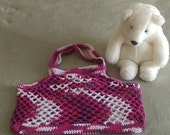 "Crochet Market Bag Tote Pink White & Purple Crocheted Summer Beach Bag Purse cotton 13""X17"""