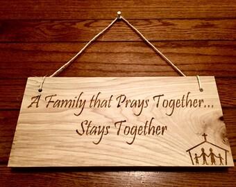 Laser Engraved Family Prayer Wooden Sign *Home Decor Sign*