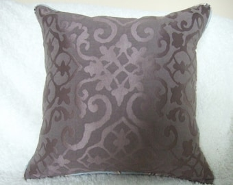 """18"""" (or request size) Brocade Pillows with Inserts or Pillow Covers - Zippers & Welt Cord - Brown, Mocha, Chocolate, Plum"""