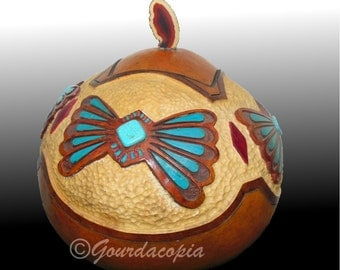 Gourd Art Carved Native American Butterflies