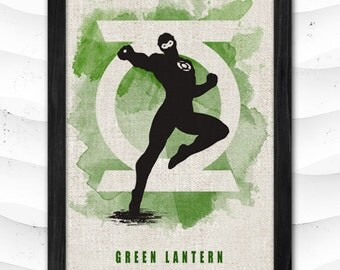 Justice League Watercolor Print Green Lantern Poster Art Print Baby Room Illustrations Room Nursery Kids Room Gift Linen Poster CAP161