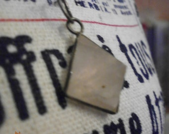 antique/vintage rose quartz Pendant, 925 silver mounting,  rose quartz