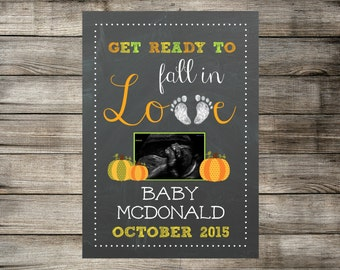 Fall / Autumn Ultrasound Pregnancy Announcement - Printable Baby Reveal Chalkboard Card - Personalized Sonogram - JPEG file - Social Media