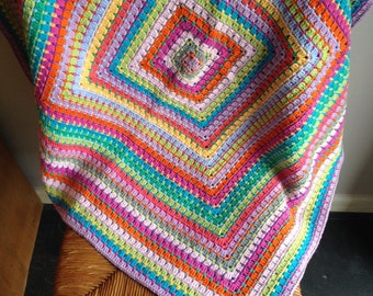 Colourful handmade crochet lap/baby blanket