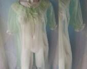 282--Lime green-Vintage lingerie-Sexy-Feminine-Sensual-Bride-Honeymoon-Soft -Sheer-Ribbon & lace
