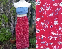 218--Flower skirt-Size 14-Chritopher and Banks-Full length-Zipper with button-Womens fashion-Vintage shop-Flowers-Summer style-Womens skirts