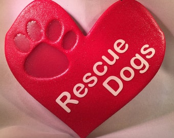 Rescue Dogs Paw Print On My Heart Decoration