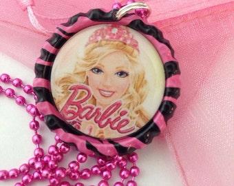 Barbie necklace - barbie bottle cap necklace -barbie jewelry - bottle cap jewelry