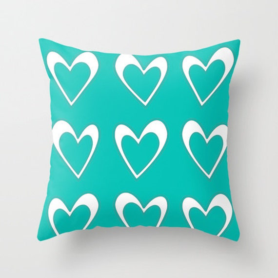 Turquoise Pillow Cover Aqua Blue Pillow by DesignbyJuliaBars