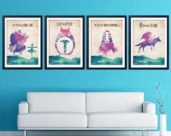 Hayao Miyazaki Minimalist Movie Poster Set  - Howl's Moving Castle, My Neighbor Totoro, Spirited Away, Princess Mononoke