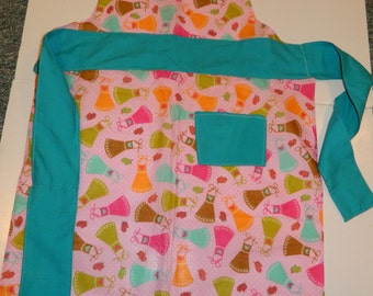 Colorful pink/turquoise bodice apron NEW price!