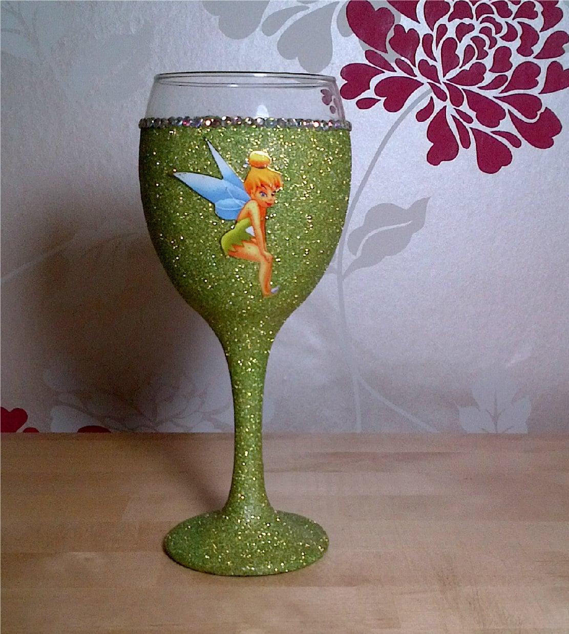 Tinkerbell Glitter Wine Glass Bling Birthday By