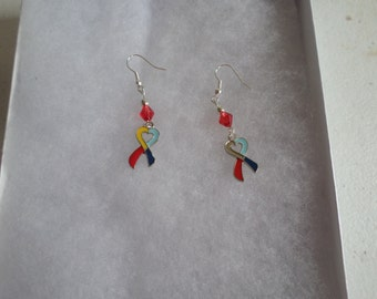 Autism Awareness Ribbon Beaded Earrings