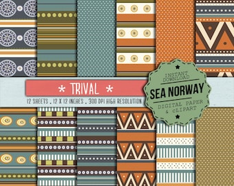 TRIBAL ETHNIC Digital paper, patterns, native desings, scrapbooking, 300DPI 12x12 inch /199