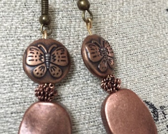 Bronze metal drop earrings