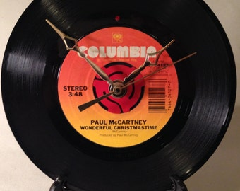 "Recycled PAUL McCARTNEY 7"" Record • Song: Wonderful Christmastime • Record Clock"