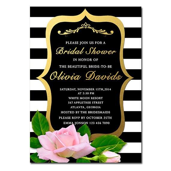 Bridal shower invitation floral black white stripe bridal for Black and gold wedding shower invitations