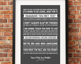 How I Met Your Mother Quotes - Jpeg - A4 + Letter + 8x10 - INSTANT DOWNLOAD - Digital Print - Wall Art - Printable Poster
